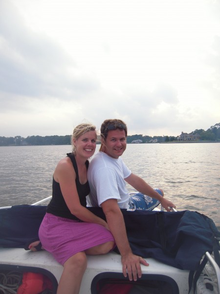 Totty and Dave on the boat